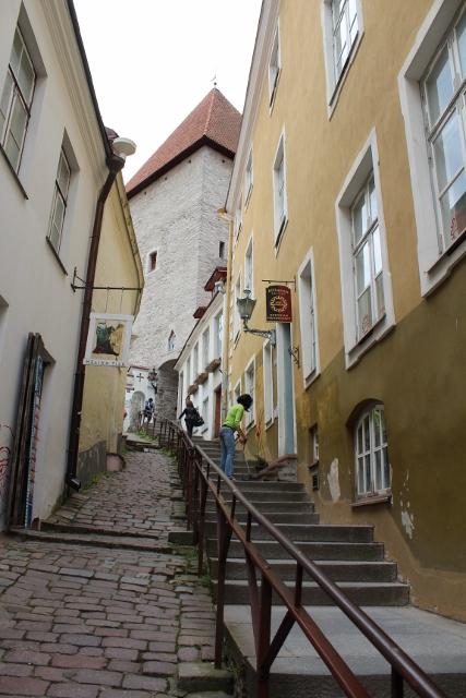 Hinauf zur mittelalterlichen Burg in Tallin